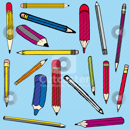 Set vector illustration of pencils stock vector clipart, Set vector illustration of pencils by alvaroc