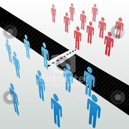 Separate people groups join unite merge together stock vector clipart, Two separate groups find common ground to unite merge together across gap by Michael Brown