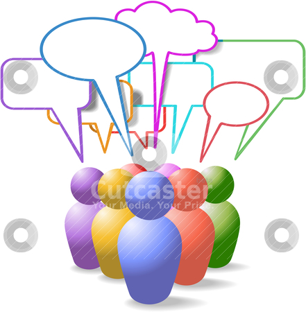 People symbols social media speech bubbles stock vector clipart, Game piece style symbol people talk in colorful social media copy space speech bubbles by Michael Brown