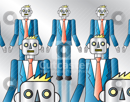 Corporate Robots stock vector clipart, An assembly line of robots dressed in suits. by Jamie Slavy