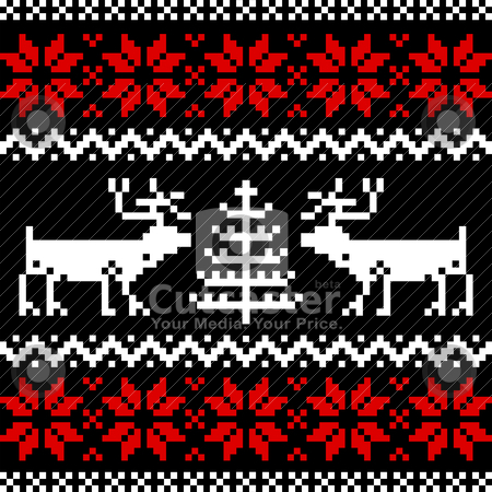 Nordic pattern on black stock vector clipart, Collection of christmas knitting nordic pattern on black background. by Ela Kwasniewski
