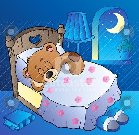 Sleeping teddy bear in bedroom stock vector clipart, Sleeping teddy bear in bedroom - vector illustration. by Klara Viskova