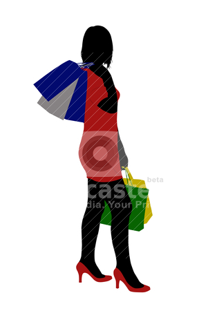 Woman shopping stock vector clipart, silhouette of a woman shopping isolated on white by Ioana Martalogu