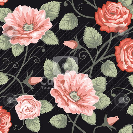 Roses seamless background stock vector clipart, Roses vector background, repeating seamless pattern. by Ela Kwasniewski
