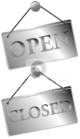 Open / Closed Signs stock vector clipart, Metallic Open / Closed Signs Isolated on White by JAMDesign