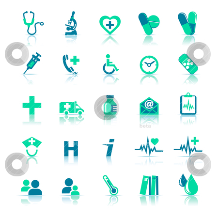 Health Care Icons stock vector clipart, All elements are grouped and on individual layers in the vector (AI8) file for easy use. by Fenton