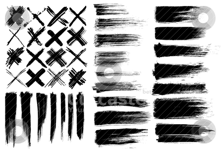 Brushes & cross marks stock vector clipart, set of different vector brushes and cross marks isolated on white background by alekup