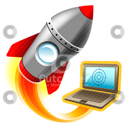 Illustration of computer for gaming stock vector clipart, illustration of rocket flying from notebook by alekup