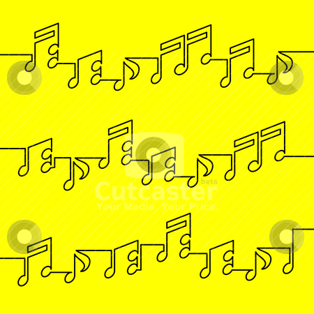 Musical notation stock vector clipart, musical notation in one line on yellow background by alekup
