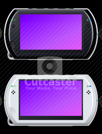 Portable video game console stock vector clipart, portable video game console in black and white by alekup