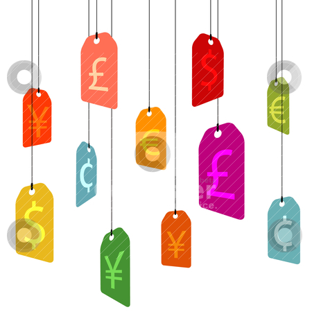 Hanging pricetags with currency signs stock vector clipart, hanging pricetags with currency signs on white by alekup