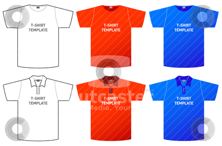 T-shirt template stock vector clipart, set of different t-shirt templates on white by alekup
