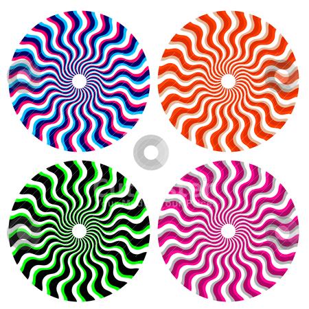 Optical ornamental wheels stock vector clipart, set of optical color ornamental wheels by alekup