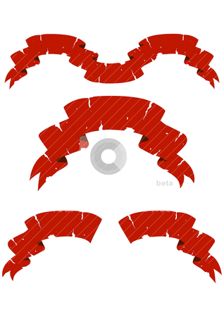 Fragmentary tapes stock vector clipart, Set of red fragmentary tapes on a white background by Ekaterina Vakulko