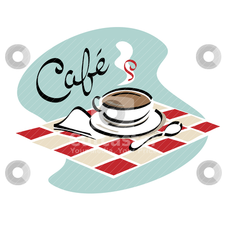 Coffee Cafe stock vector clipart, A cup of hot coffee ready to sip in a cafe. by Lisa Fischer
