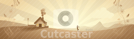 Abstract landscape scene in sunset stock vector clipart, abstract rural landscape scene in sunset, vector illustration by th12