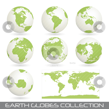 Collection of earth glob, white-green  stock vector clipart, collection of earth globes end a map isolated on white, vector illustration by th12