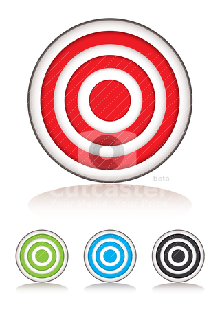 Target selection stock vector clipart, Collection of targets with selection of colors and shadow by Michael Travers