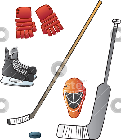 Hockey Gear stock vector clipart, Some of the most basic items that are associated with the game of ice hockey. by Jamie Slavy