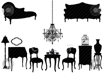Antique furniture, vector stock vector clipart, living room with antique furniture, vector background by Beata Kraus