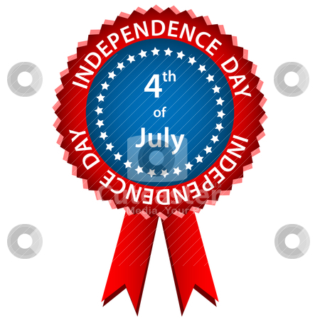 4 july independence day rosette stock vector clipart, 4th of july independence day rosette or badge in american flag colors. Isolated on a white background. by toots77
