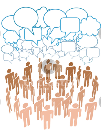 Company people group talk network social media stock vector clipart, Company club or other group of people talk under a cloud of social media copy space speech bubbles by Michael Brown