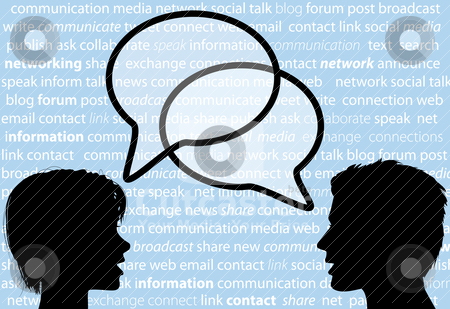 People talk share social network speech bubbles stock vector clipart, Two people share social network words in media speech bubbles on a text background. by Michael Brown
