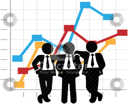 Business Men Sales Team Profit Growth Graph Chart stock vector clipart, Three man team of sales people stand in front of a business profit growth success chart by Michael Brown