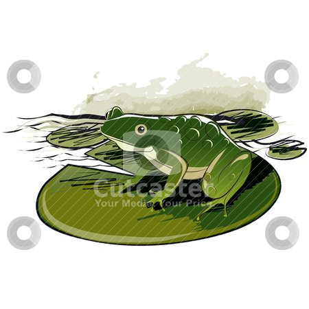 Frog Sitting On Leaf stock vector clipart, Frog Sitting On Water Lily Leaf, editable vector illustration by juland