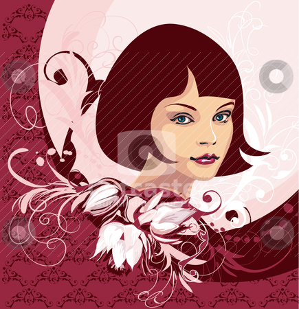 Woman Face On Floral Background stock vector clipart, Woman Face On Floral Background, editable vector illustration by juland