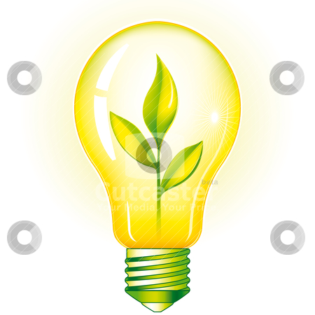 Green Light Bulb stock vector clipart, Green Light Bulb With Sprout Inside, editable vector illustration by juland