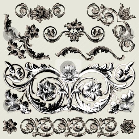 Set Of Classic Floral Decoration Elements stock vector clipart, Set Of Classic Floral Decoration Elements, editable vector illustration by juland