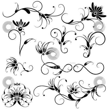 Set of Decorative Floral Design Elements stock vector clipart, Collection of Decorative Floral Design Elements  on white background, editable vector illustration by juland