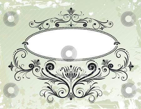 Floral Frame Ornament On Grunge Background stock vector clipart, Floral Frame Ornament On Grunge Background, editable vector illustration by juland
