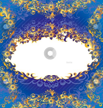 Decorative Blue Floral Frame stock vector clipart, Decorative Blue And Golden Floral Frame, editable vector illustration by juland