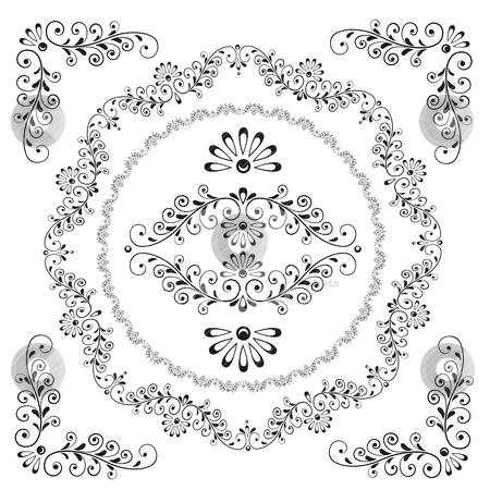Decorative Floral Design Frame Elements stock vector clipart, Decorative Floral Design Frame Elements, editable vector illustration by juland