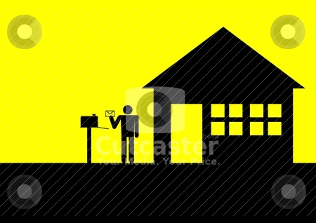 Got Mail stock vector clipart, Iconic illustration of a figure receiving a letter by rudall30
