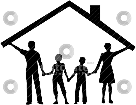 Family under house hold home roof over kids stock vector clipart, Silhouette family safe at home as mom and dad hold up the roof over kids by Michael Brown