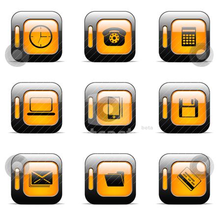 Orange icon set stock vector clipart, Original vector buttons for web design (set 2) by Vladimir Gladcov