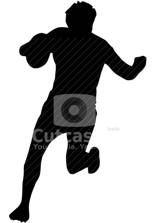 Sport Silhouette - Rugby Runner Blocking stock vector clipart, Sport Silhouette - Rugby Runner Blocking isolated black image on white background  by Snap2Art