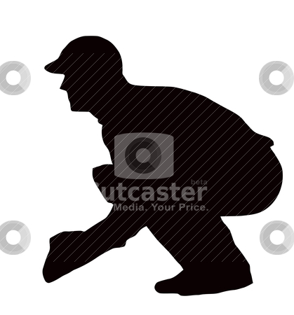 Sport Silhouette - Wicket-Keeper Crouching stock vector clipart, Sport Silhouette - Wicket-Keeper Crouching isolated black image on white background  by Snap2Art