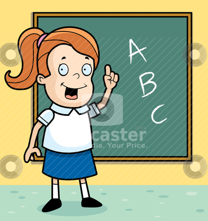 Schoolgirl Blackboard stock vector clipart, A happy cartoon schoolgirl at the blackboard. by cthoman
