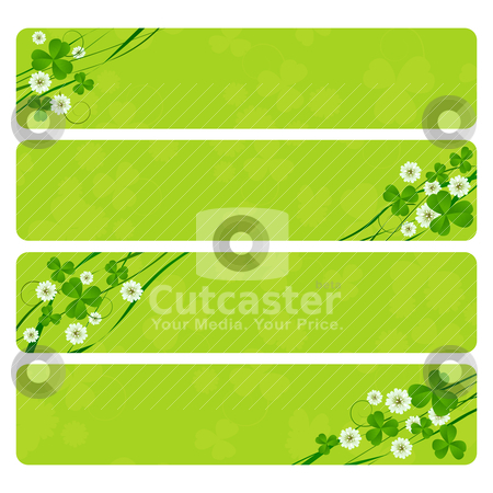 St. Patrick headers stock vector clipart, St. Patrick's Day header collection with clover foliage by Richard Laschon