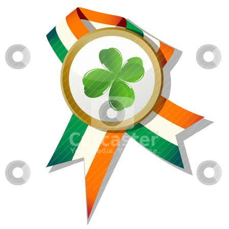 St.Patrick badge stock vector clipart, St.Patrick badge with four leaves clover and Irish colors by Richard Laschon