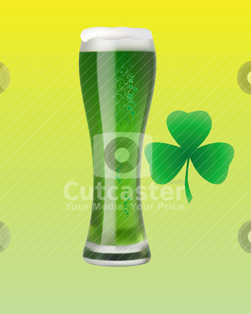 A large glass of green beer with clover leaf stock vector clipart, a large glass of green beer with clover leaf on green background by Yuriy Mayboroda
