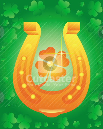 Golden Horseshoe with leaf clover stock vector clipart, Golden Horseshoe with leaf clover on green background by Yuriy Mayboroda