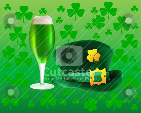 Hat and a glass of green beer  stock vector clipart, hat and a glass of green beer on a background leaf clover by Yuriy Mayboroda