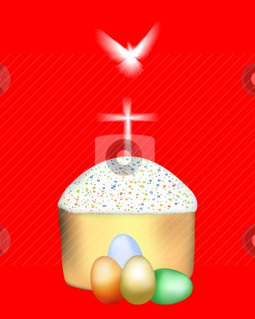 Easter cake with colored eggs stock vector clipart, Easter cake with colored eggs on a red background by Yuriy Mayboroda
