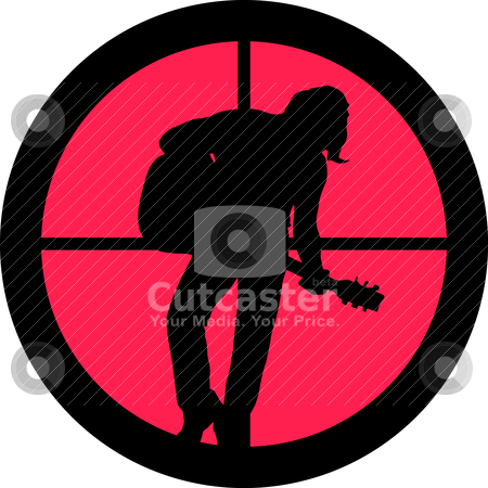 In the Scope Series Rocker (guitar player) stock vector clipart, In the scope series - Rocker (guitar player) in the crosshair of a gun's telescope. Can be symbolic for need of protection, being tired of, intolerance or being under investigation. by Snap2Art