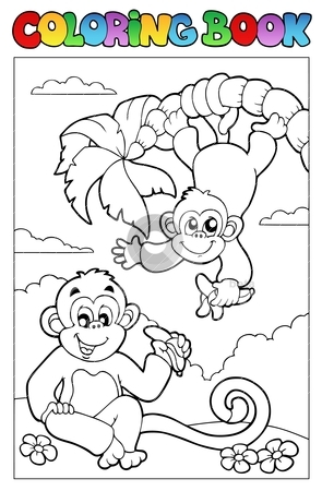 Coloring book with two monkeys stock vector clipart, Coloring book with two monkeys - vector illustration. by Klara Viskova
